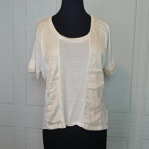 Forever 21 Cream Lace Detail T Shirt Size Small